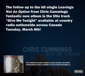 "Chris Cummings latest single ""Give Me Tonight"""